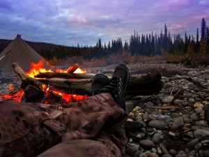 Relaxing in our camp